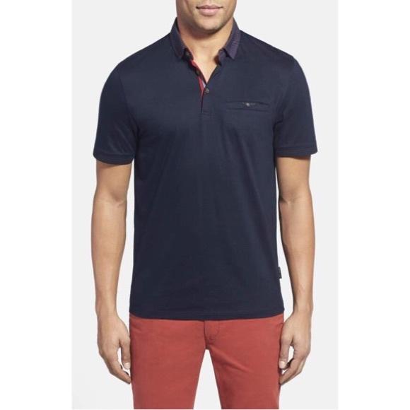 c791691fd15 Ted Baker GABES Slim Fit Navy Printed Polo Shirt. M 5b1d8fd103087c2b2b2a8dbf